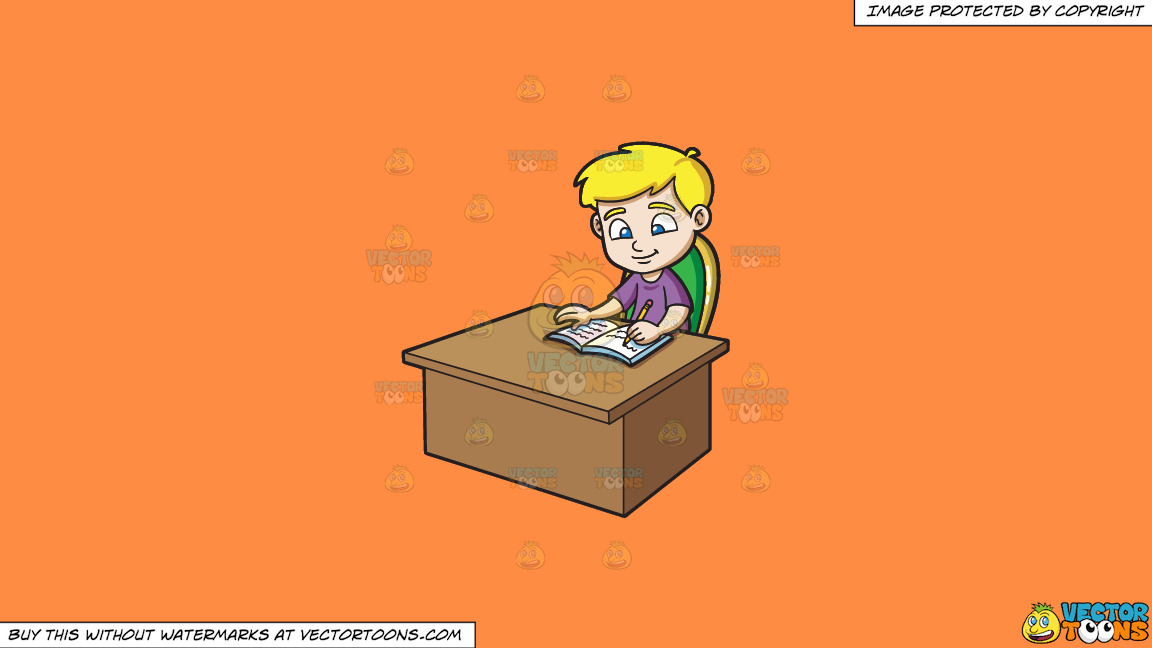 A Boy Writing Down Notes On His Notebook On A Solid Mango Orange Ff8c42 Background thumbnail