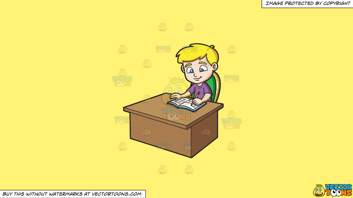 A Boy Writing Down Notes On His Notebook On A Solid Sunny Yellow Fff275 Background thumbnail