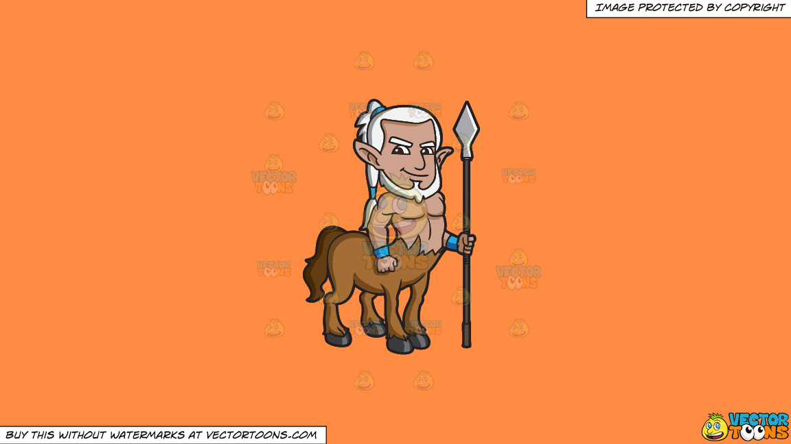 A Brave Centaur Guard On A Solid Mango Orange Ff8c42 Background thumbnail