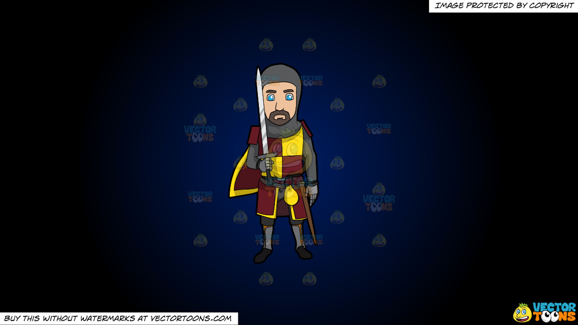 A Brave Knight With A Sword On A Dark Blue And Black Gradient Background thumbnail