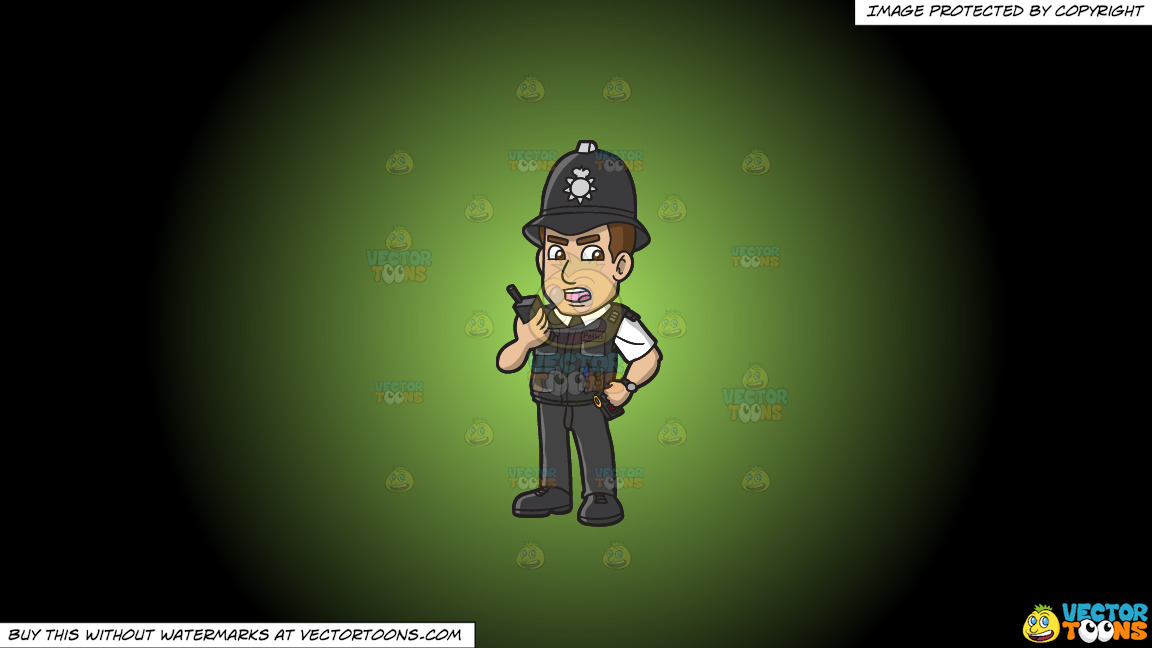 A British Police Constable On A Green And Black Gradient Background thumbnail