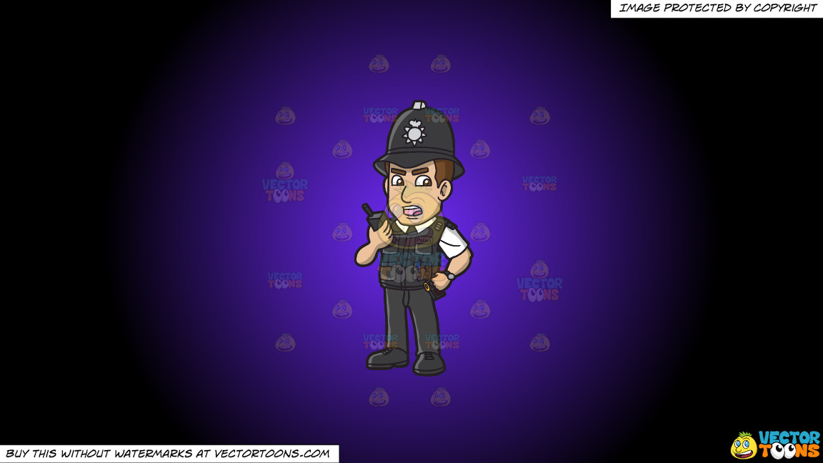 A British Police Constable On A Purple And Black Gradient Background thumbnail