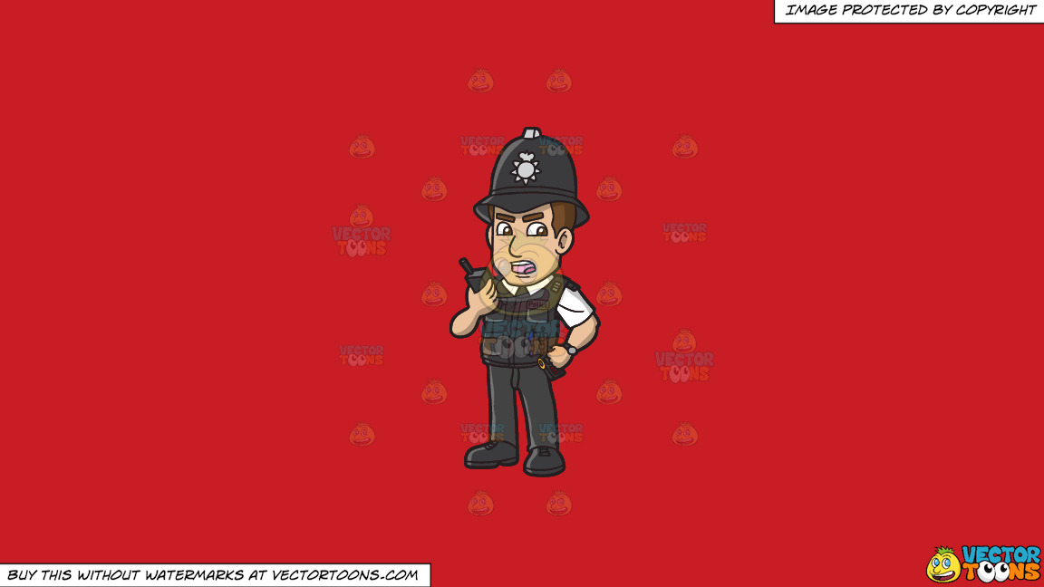 A British Police Constable On A Solid Fire Engine Red C81d25 Background thumbnail
