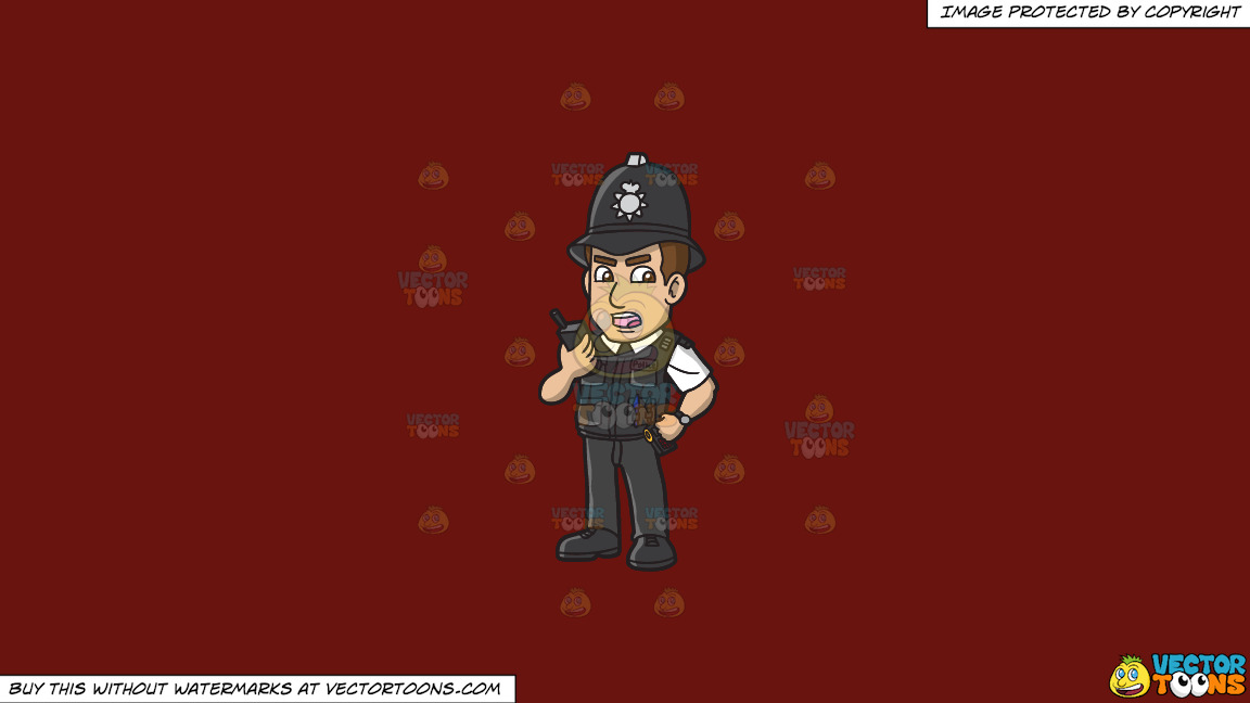 A British Police Constable On A Solid Maroon 69140e Background thumbnail