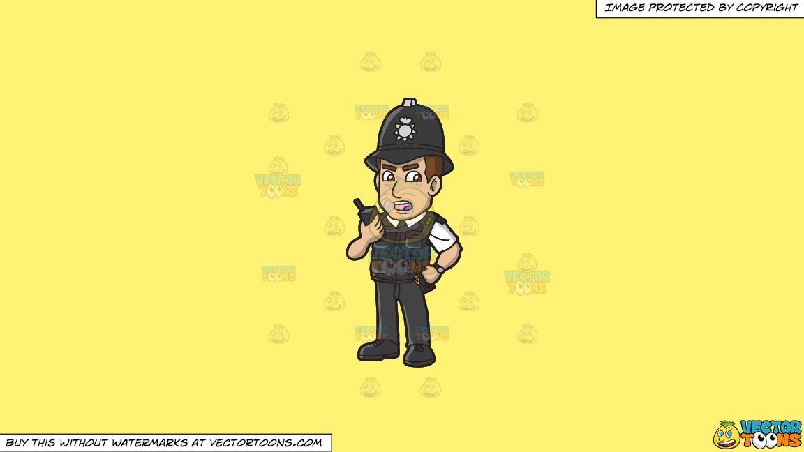 A British Police Constable On A Solid Sunny Yellow Fff275 Background thumbnail
