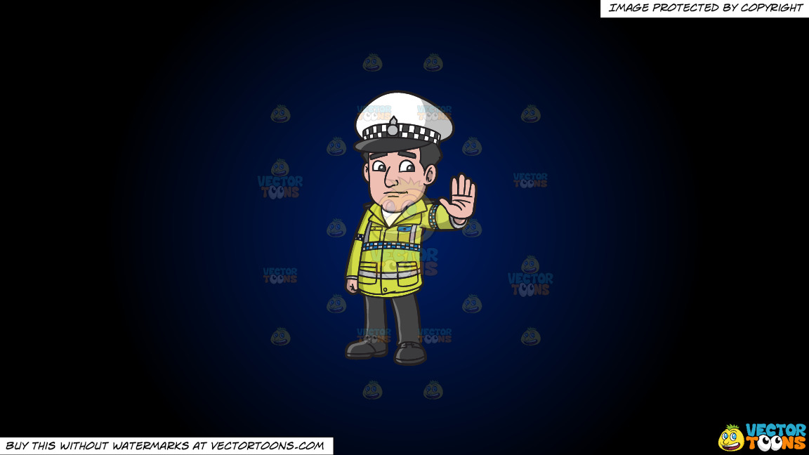 A British Traffic Police Officer On A Dark Blue And Black Gradient Background thumbnail