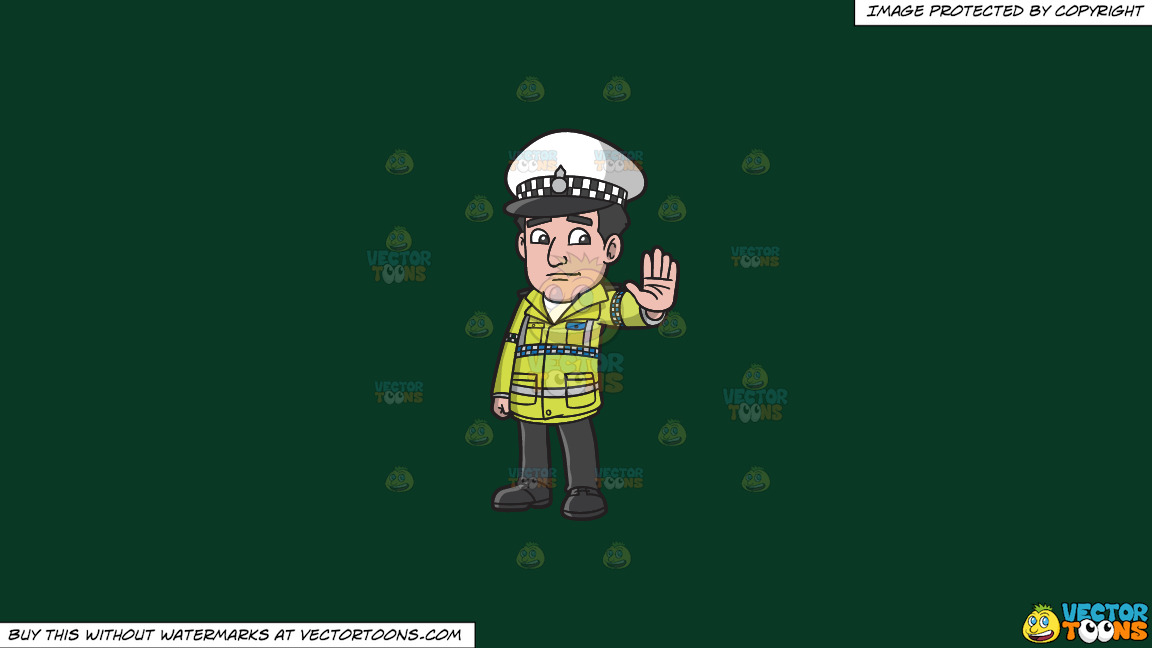 A British Traffic Police Officer On A Solid Dark Green 093824 Background thumbnail