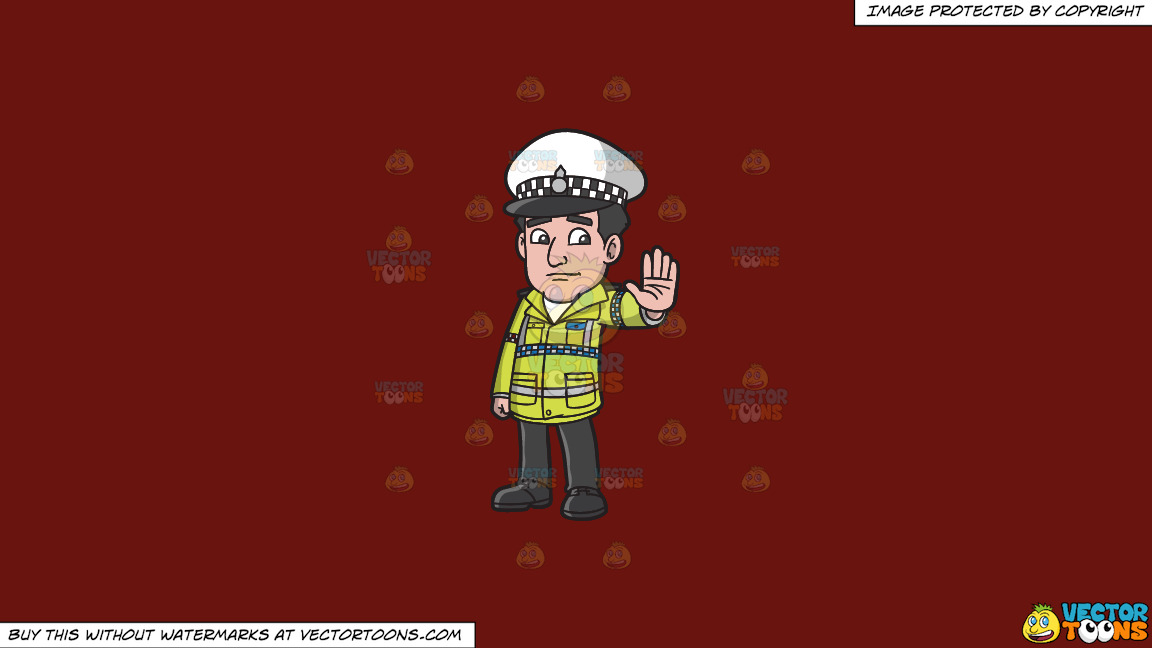 A British Traffic Police Officer On A Solid Maroon 69140e Background thumbnail