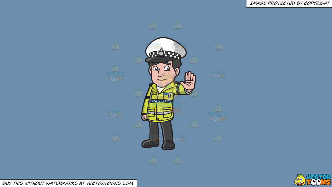 A British Traffic Police Officer On A Solid Shadow Blue 6c8ead Background thumbnail