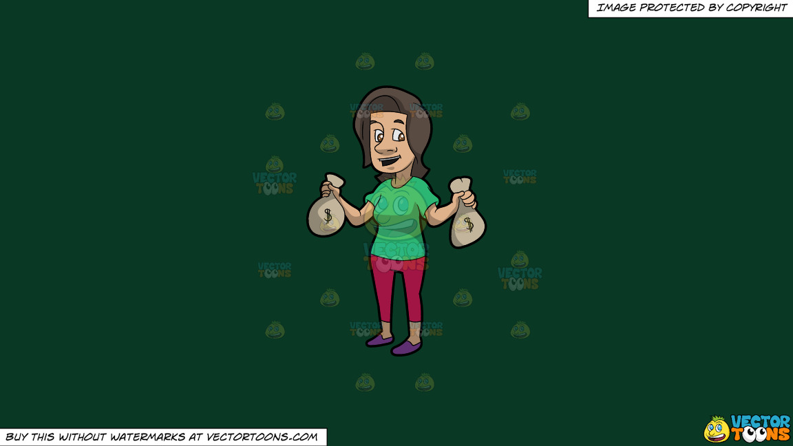 A Brunette Woman Holding Bags Of Money In Her Hands On A Solid Dark Green 093824 Background thumbnail