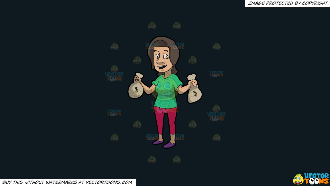 A Brunette Woman Holding Bags Of Money In Her Hands On A Solid Off Black 0f1a20 Background thumbnail