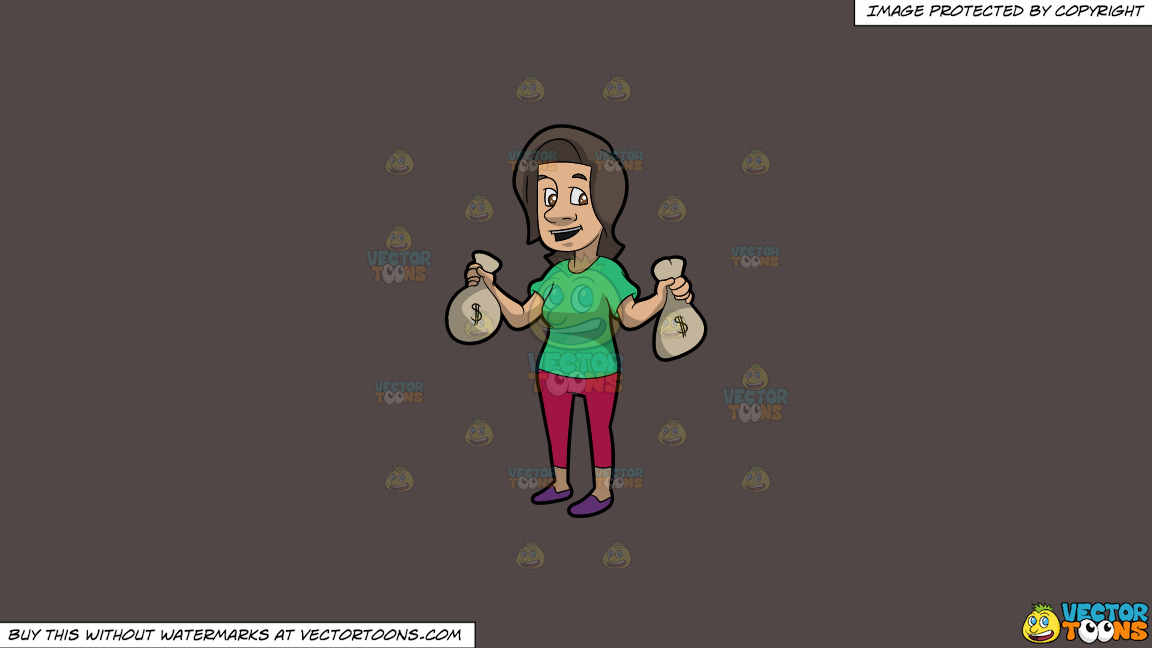 A Brunette Woman Holding Bags Of Money In Her Hands On A Solid Quartz 504746 Background thumbnail