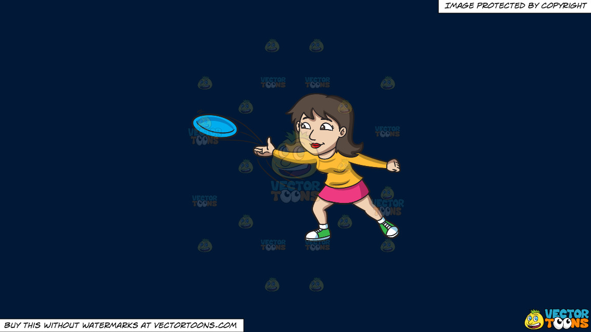 A Brunette Woman Throwing A Blue Frisbee On A Solid Dark Blue 011936 Background thumbnail