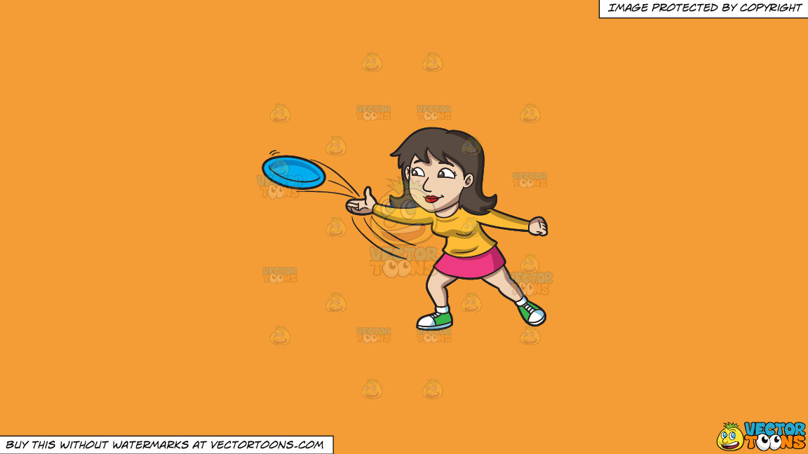 A Brunette Woman Throwing A Blue Frisbee On A Solid Deep Saffron Gold F49d37 Background thumbnail