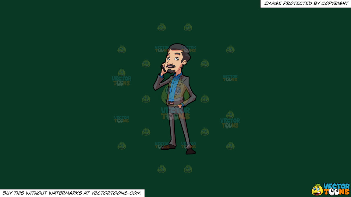 A Businessman Making A Phone Call On A Solid Dark Green 093824 Background thumbnail