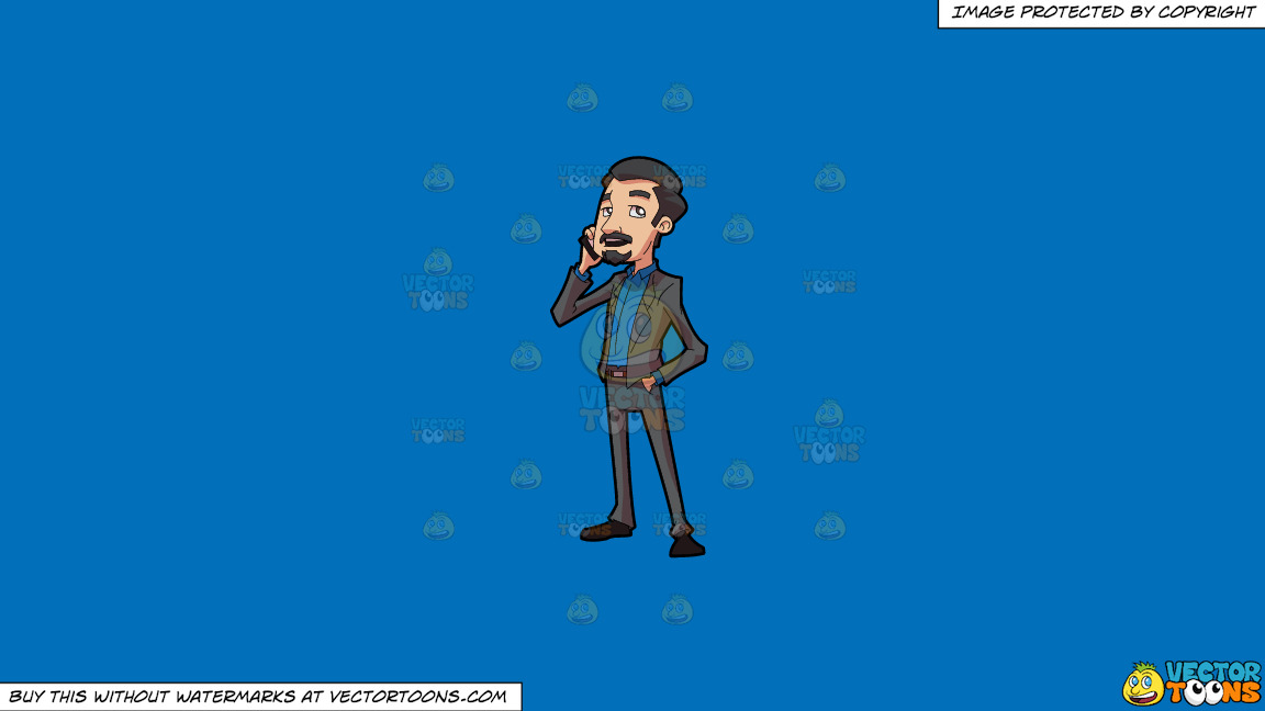 A Businessman Making A Phone Call On A Solid Spanish Blue 016fb9 Background thumbnail