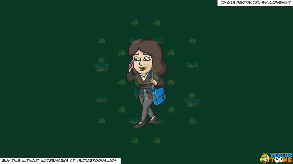 A Businesswoman On The Go On A Solid Dark Green 093824 Background thumbnail