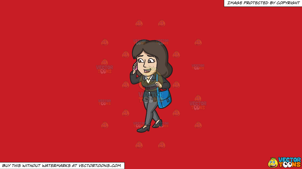 A Businesswoman On The Go On A Solid Fire Engine Red C81d25 Background thumbnail