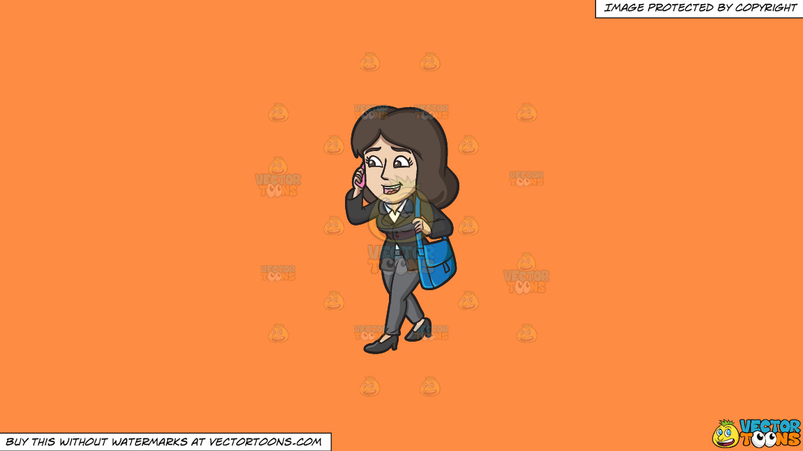 A Businesswoman On The Go On A Solid Mango Orange Ff8c42 Background thumbnail