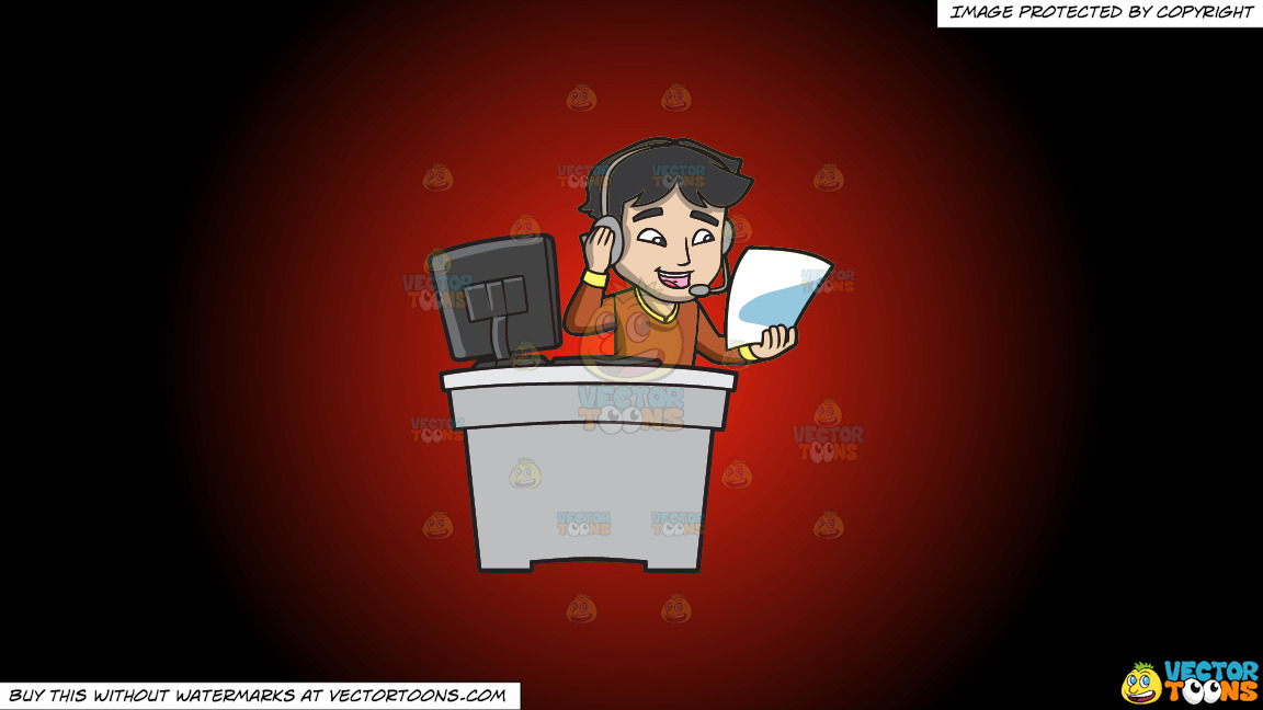 A Call Center Agent Reading His Cheat Sheet On A Red And Black Gradient Background thumbnail