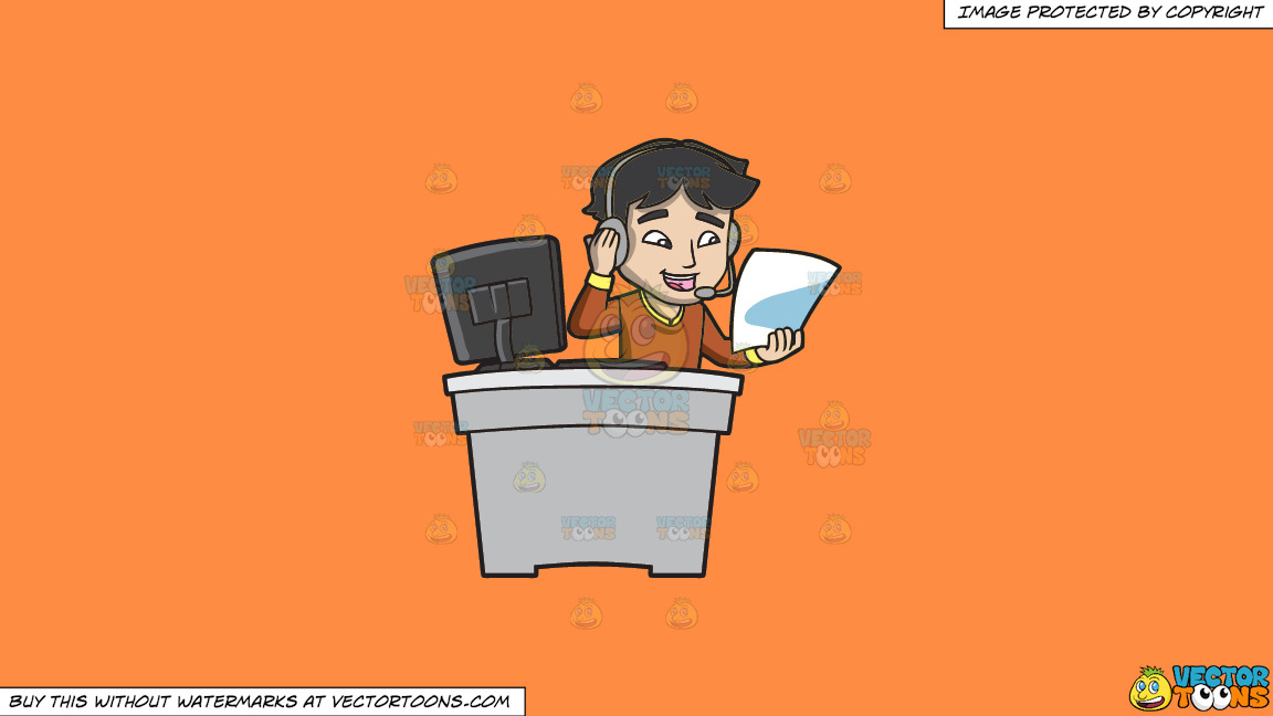 A Call Center Agent Reading His Cheat Sheet On A Solid Mango Orange Ff8c42 Background thumbnail