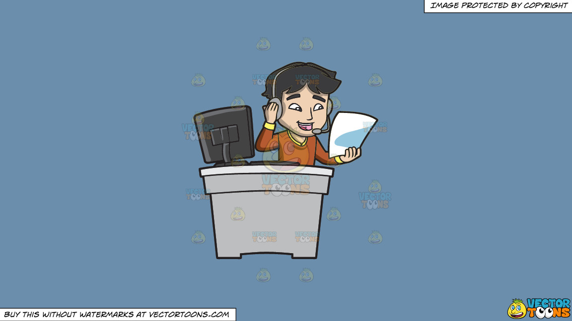 A Call Center Agent Reading His Cheat Sheet On A Solid Shadow Blue 6c8ead Background thumbnail