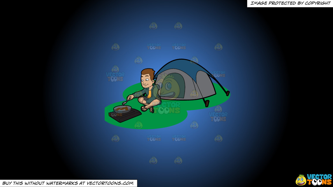 A Camper Cooking His Meal Outside The Tent On A Blue And Black Gradient Background thumbnail