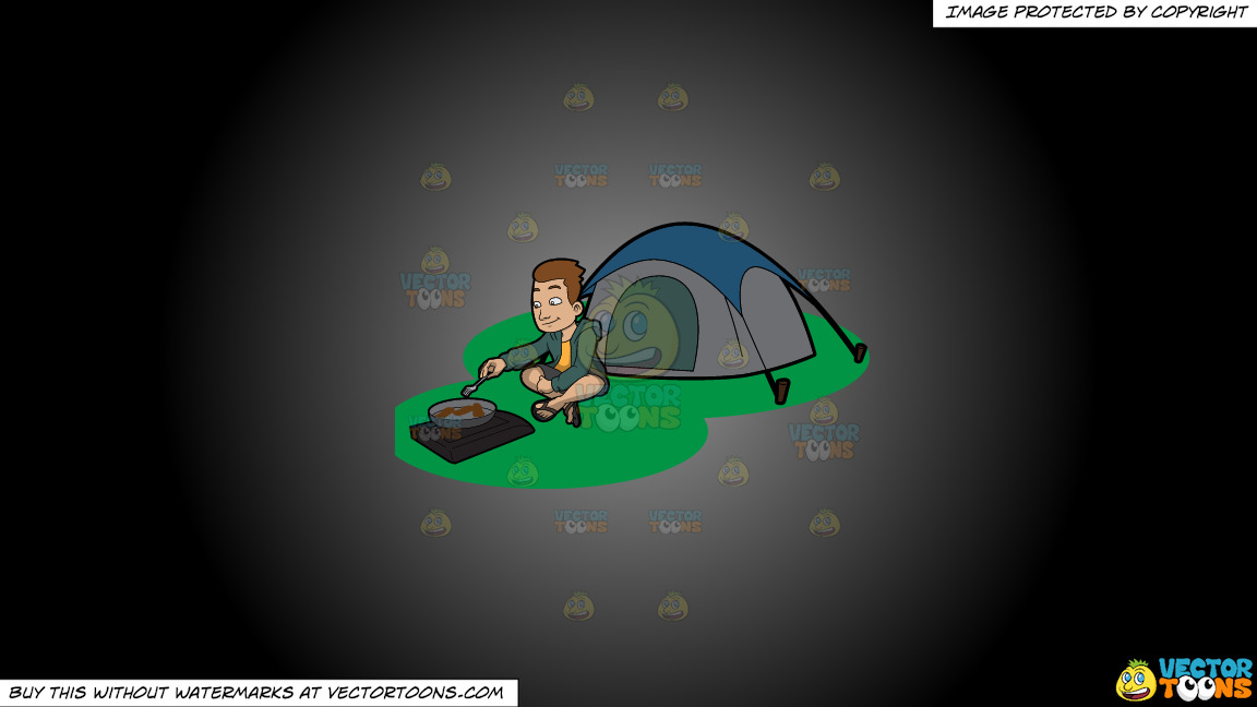 A Camper Cooking His Meal Outside The Tent On A Grey And Black Gradient Background thumbnail