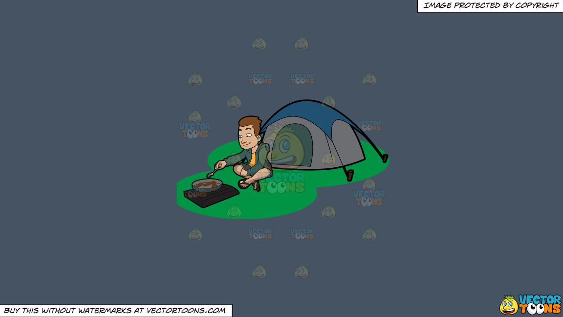 A Camper Cooking His Meal Outside The Tent On A Solid Metal Grey 465362 Background thumbnail