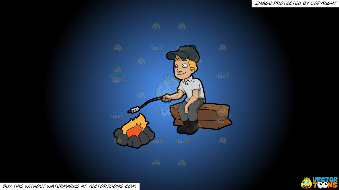 A Camper Roasting Marshmallows On A Blue And Black Gradient Background thumbnail