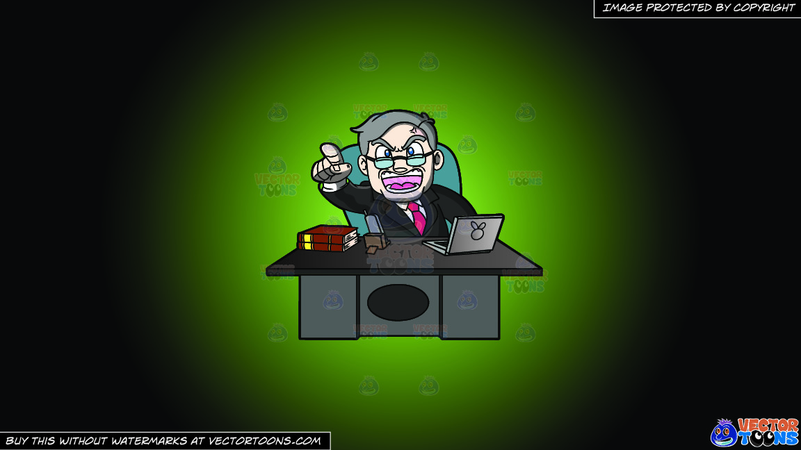 A Ceo Scolding Yelling From Behind His Desk On A Green And Black Gradient Background thumbnail