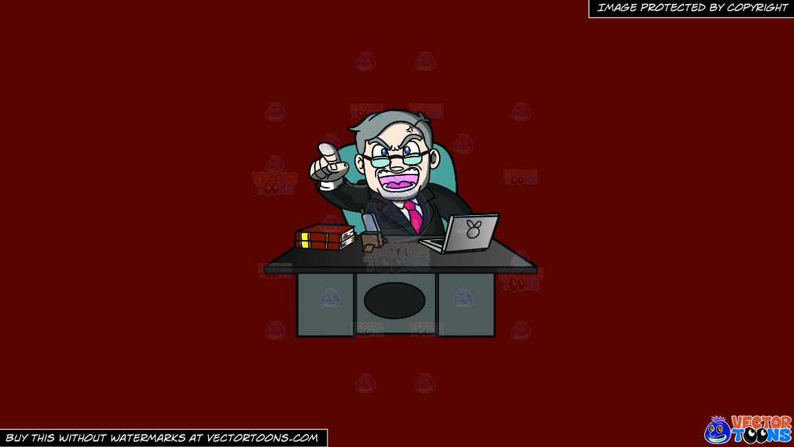 A Ceo Scolding Yelling From Behind His Desk On A Solid Maroon 69140e Background thumbnail