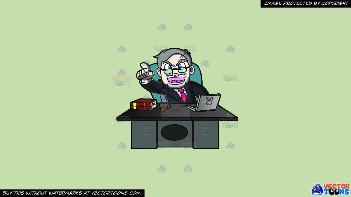 A Ceo Scolding Yelling From Behind His Desk On A Solid Pale Silver C6ccb2 Background thumbnail