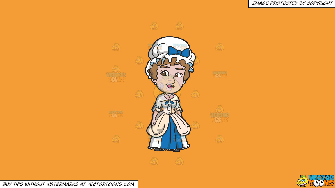 A Charming 18th Century Colonial Mother On A Solid Deep Saffron Gold F49d37 Background thumbnail