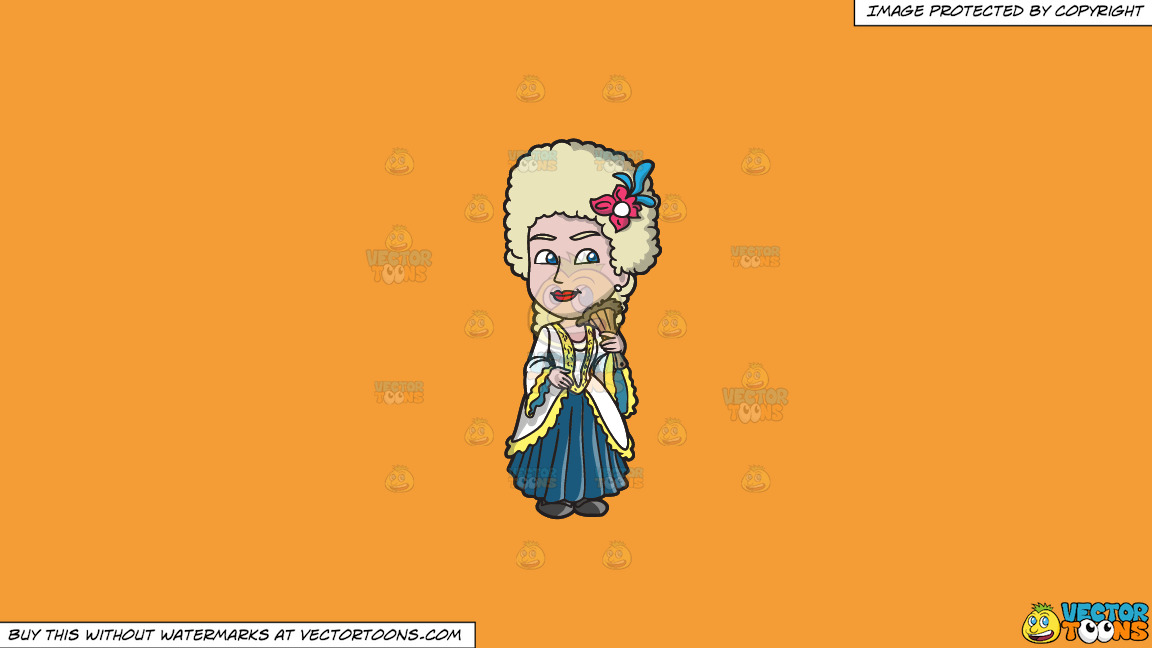 A Charming 18th Century Colonial Woman On A Solid Deep Saffron Gold F49d37 Background thumbnail