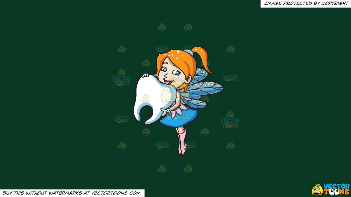 A Charming Fairy Holding A Big Tooth On A Solid Dark Green 093824 Background thumbnail