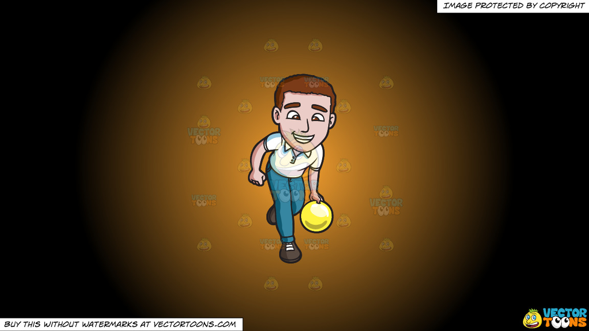 A Charming Man Enjoying A Game Of Bowling On A Orange And Black Gradient Background thumbnail