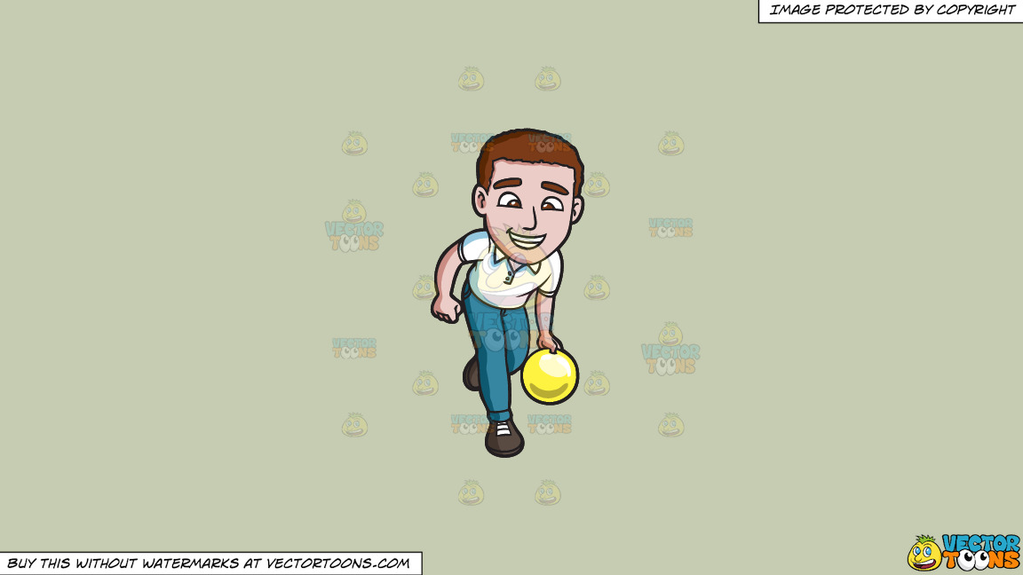 A Charming Man Enjoying A Game Of Bowling On A Solid Pale Silver C6ccb2 Background thumbnail
