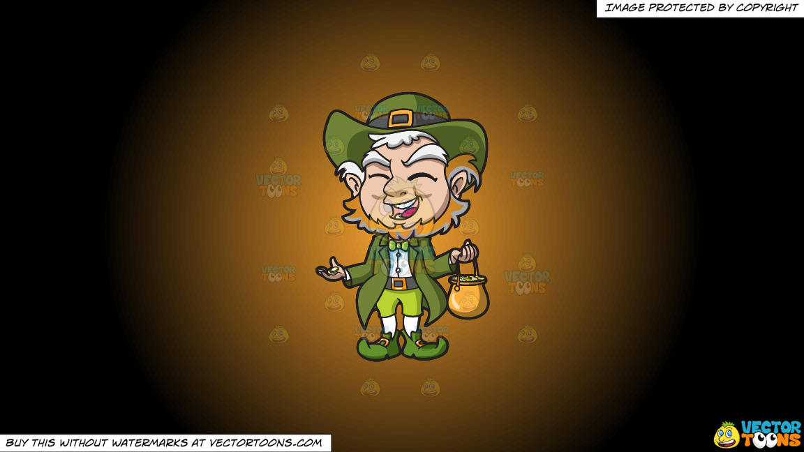 A Charming Old Leprechaun With His Pot Of Gold On A Orange And Black Gradient Background thumbnail