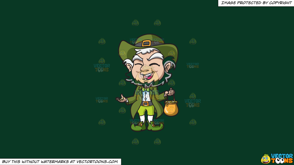 A Charming Old Leprechaun With His Pot Of Gold On A Solid Dark Green 093824 Background thumbnail