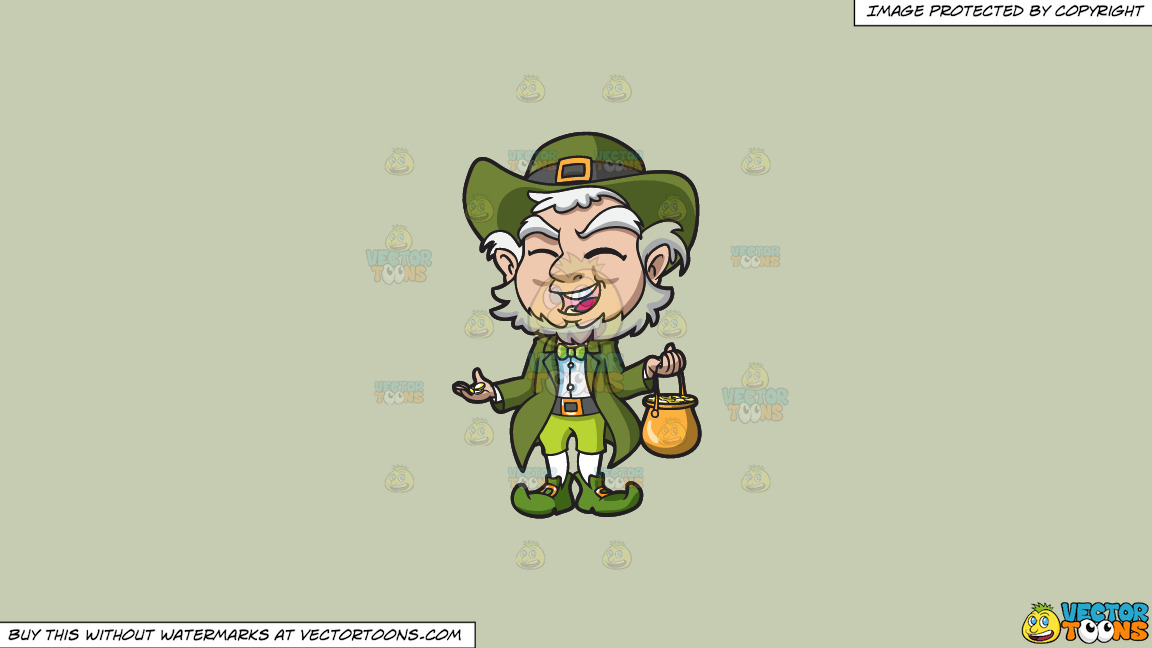 A Charming Old Leprechaun With His Pot Of Gold On A Solid Pale Silver C6ccb2 Background thumbnail