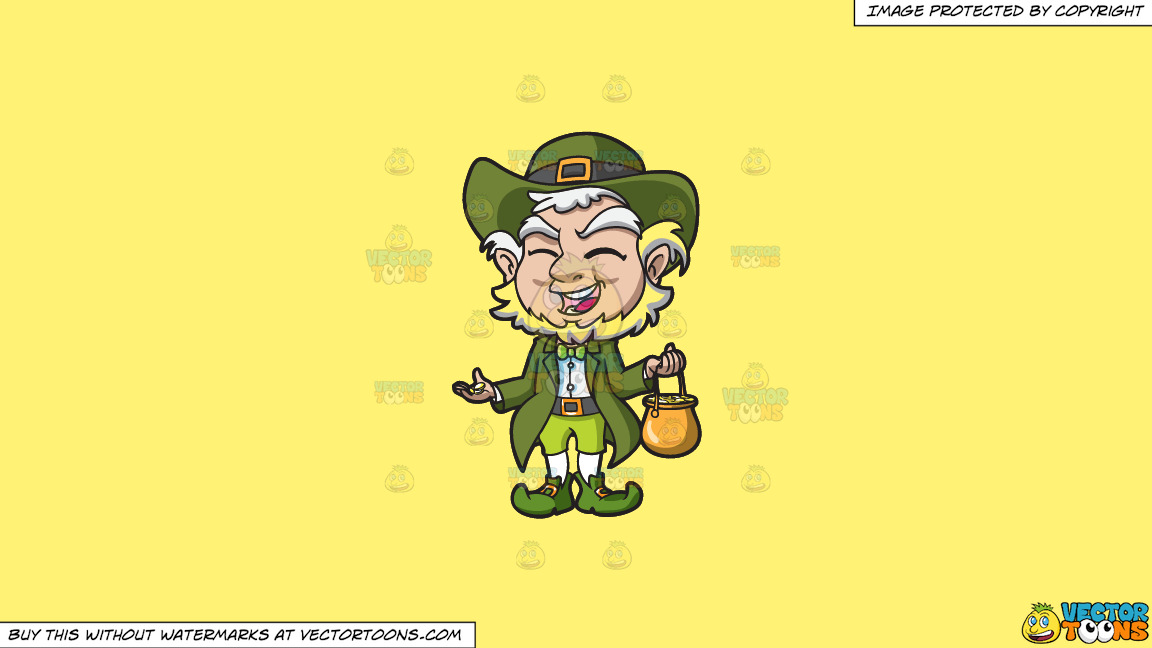 A Charming Old Leprechaun With His Pot Of Gold On A Solid Sunny Yellow Fff275 Background thumbnail