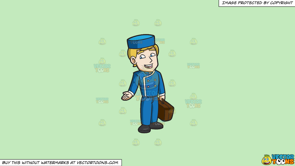 A Chatty Bellhop On A Solid Tea Green C2eabd Background thumbnail