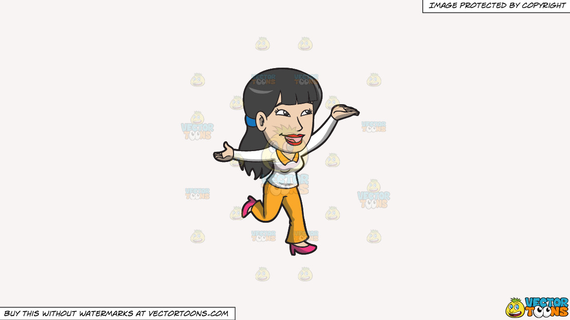 A Chinese Woman Full Of Glee On A Solid White Smoke F7f4f3 Background thumbnail