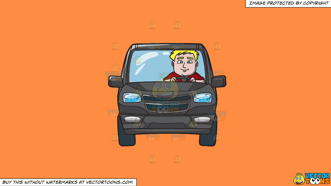 A Chubby Blonde Man Driving A Black Suv On A Solid Mango Orange Ff8c42 Background thumbnail