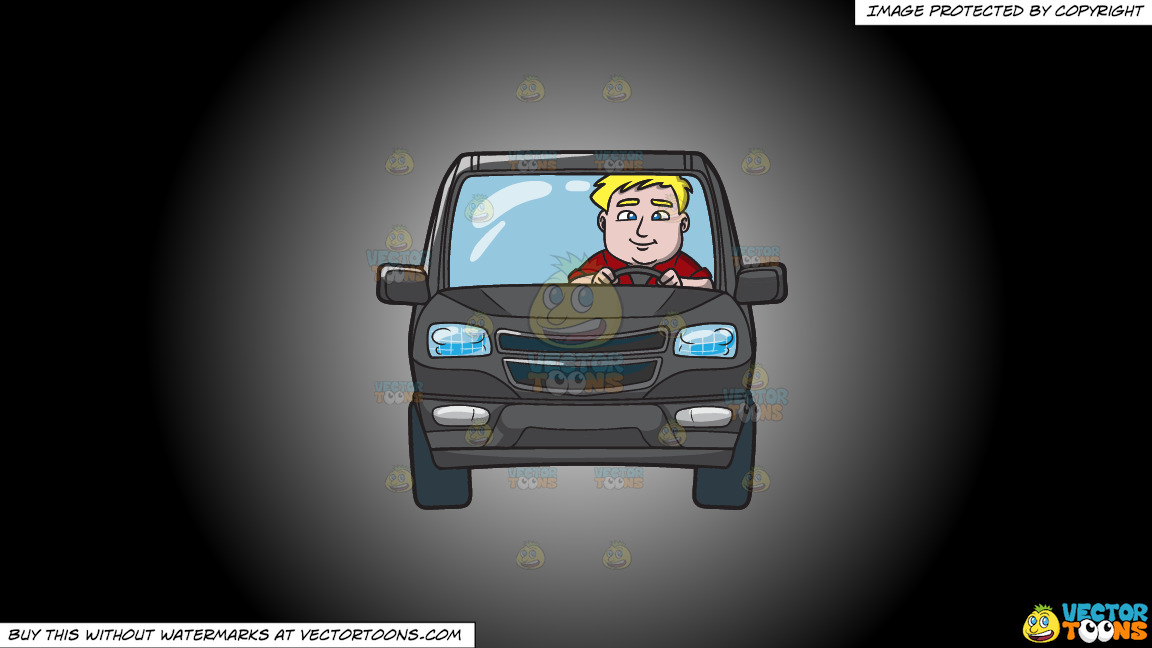 A Chubby Blonde Man Driving A Black Suv On A White And Black Gradient Background thumbnail