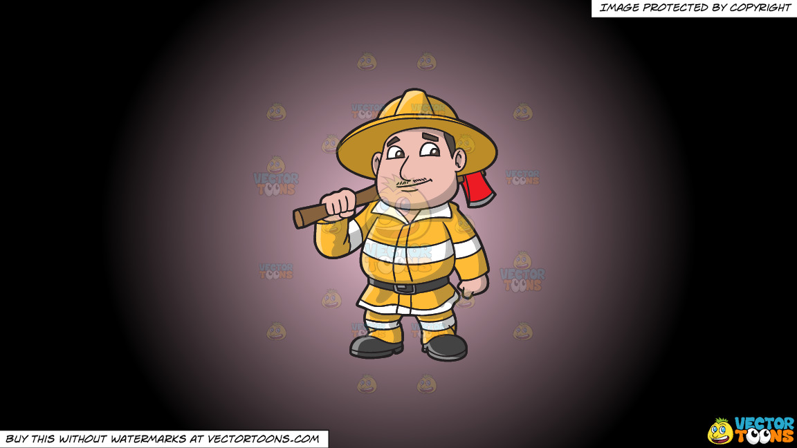A Chubby Firefighter With An Ax On A Pink And Black Gradient Background thumbnail