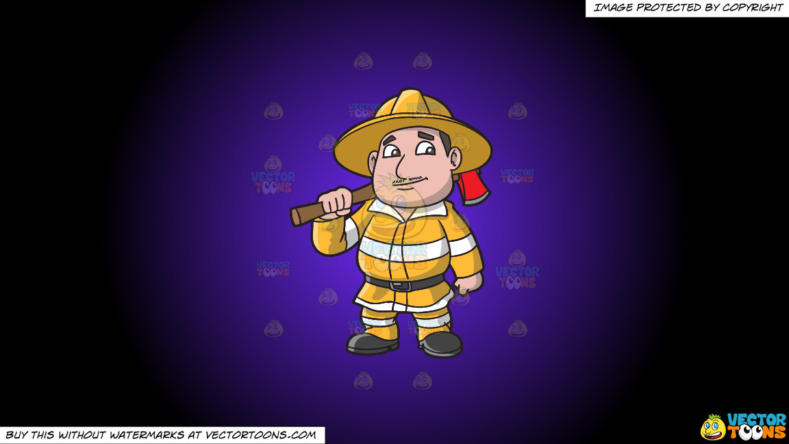 A Chubby Firefighter With An Ax On A Purple And Black Gradient Background thumbnail