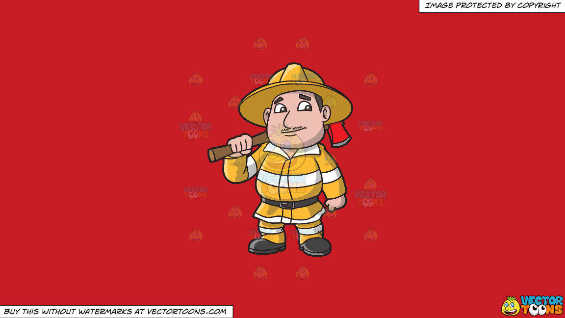A Chubby Firefighter With An Ax On A Solid Fire Engine Red C81d25 Background thumbnail