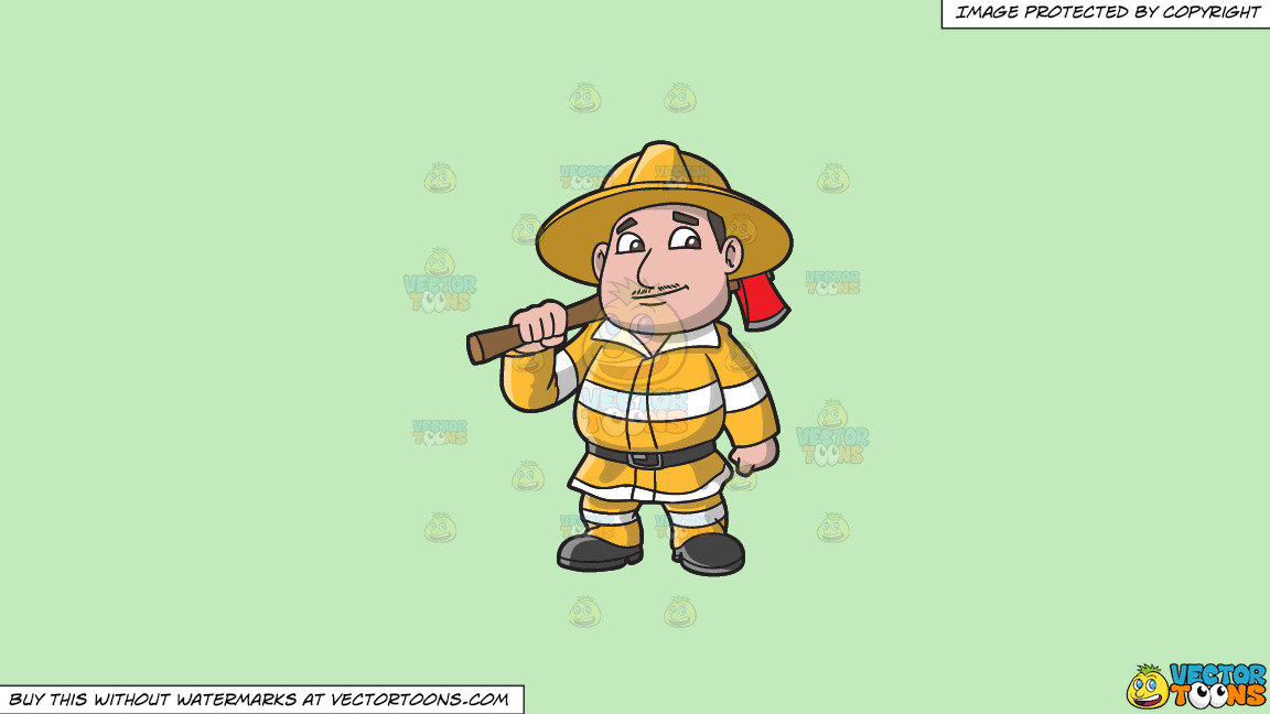 A Chubby Firefighter With An Ax On A Solid Tea Green C2eabd Background thumbnail